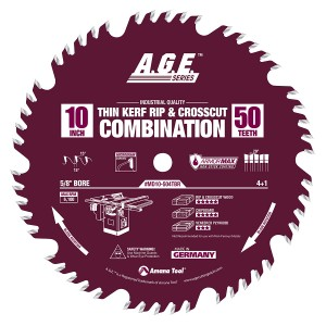 MD10-504TBR Carbide Tipped Thin Kerf Combination ArmorMax™ Coated 10 Inch Dia x 50T, 4+1, 15 Deg, 5/8 Bore Circular Saw Blade
