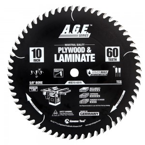 MD10-601R Carbide Tipped Plywood & Laminate ArmorMax™ Coated 10 Inch Dia x 60T, TCG, 12 Deg, 5/8 Bore Circular Saw Blade