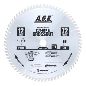 MD12-720 Carbide Tipped Cut-Off & Crosscut 12 Inch Dia x 72T ATB, 10 Deg, 1 Inch Bore Circular Saw Blade