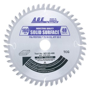 MD160-488 Carbide Tipped Saw Blade Comparable to FESTOOL® #489457 and Other Track Saw Machines, 160mm Dia x 48T M-TCG, -2 Deg, 20mm Bore, Solid Surface/Laminate Circular Saw Blade, Fits TS 55 EQ, ATF 55 E, AP 55