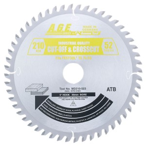MD210-523 Carbide Tipped Saw Blade Comparable to FESTOOL® #495381 and Other Track Saw Machines, 210mm Dia x 52T ATB, 5 Deg, 30mm Bore, Fine Crosscut in Sheet Goods, Melamine Circular Saw Blade, Fits TS 75 EQ