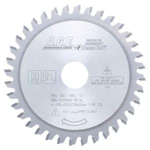 MD4-365 Carbide Tipped Thin Walled Aluminum and Non-Ferrous Metals 4-3/8 Inch Dia x 36T TCG, -5 Deg, 20mm Bore Circular Saw Blade