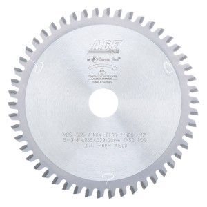 MD5-505 Carbide Tipped Thin Walled Aluminum and Non-Ferrous Metals 5-3/8 Inch Dia x 50T TCG, -5 Deg, 20mm Bore Circular Saw Blade
