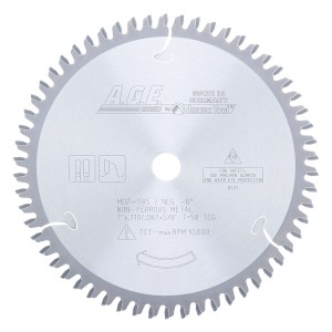 MD7-585 Carbide Tipped Thin Walled Aluminum and Non-Ferrous Metals 7 Inch Dia x 58T TCG, -6 Deg, 5/8 Bore Circular Saw Blade