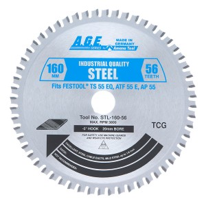 STL160-56 Carbide Tipped Saw Blade Comparable to FESTOOL® and Other Track Saw Machines, 160mm Dia x 56T TCG, -5 Deg, 20mm Bore, Steel Circular Saw Blade, Fits TS 55 EQ, ATF 55 E, AP 55